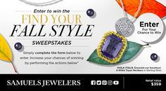 """I entered into the Samuels Jewelers' """"Find your Fall Style"""" Sweepstakes for a chance to win a Viola Collection, Emerald-cut Amethyst & White Topaz Necklace! You can too! Just click my pin!"""