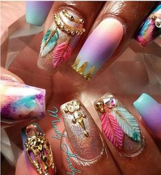 Hey there lovers of nail art! In this post we are going to share with you some Magnificent Nail Art Designs that are going to catch your eye and that you will want to copy for sure. Nail art is gaining more… Read more › Fabulous Nails, Gorgeous Nails, Pretty Nails, Amazing Nails, Gorgeous Makeup, Hair And Nails, My Nails, Bling Nails, 3d Nails Art