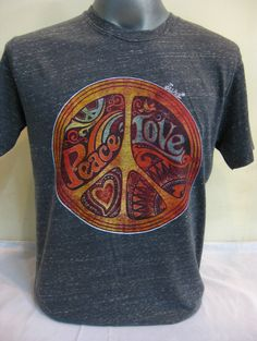 New Sure Brand Design Men's Tshirts Peace Love Black $18.00 at http://www.suredesigntshirts.com
