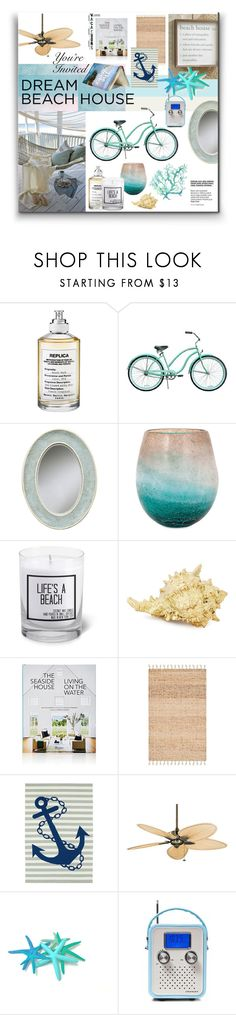 """""""Dream Beach House"""" by watereverysunday ❤ liked on Polyvore featuring interior, interiors, interior design, home, home decor, interior decorating, Maison Margiela, JS Candle Studio, Rizzoli Publishing and Home Decorators Collection"""