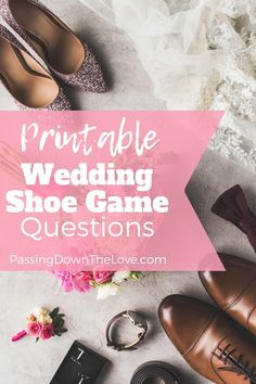 """Looking for something to do at your rehearsal dinner? Here's an idea - FREE Instructions and questions to ask for a """"get to know the bride & groom"""" game. Also fun entertainment for your reception or anniversary party! Bridal Party Shoes, Shoe Game Wedding, Wedding Reception Games, Wedding Rehearsal, Reception Dresses, Rehearsal Dinner Games, Rehearsal Dinners, Anniversary Party Games, Wedding Anniversary"""