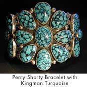 Perry Shorty Bracelet with Kingman spiderweb turquoise.
