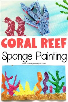 All you need are some sponges and acrylic paint to make this cute coral reef art project for kindergarten and first grade.  A fun craft for your ocean unit! | Ocean Crafts for Kids Kindergarten Art Projects, Kindergarten Activities, Art Projects For Kindergarteners, Art Activities For Preschoolers, Ocean Animal Crafts, Ocean Themed Crafts, Ocean Kids Crafts, Animal Crafts Kids, Coral Reef Craft