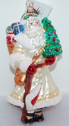 Radko SATIN WINTER NICK Christmas Ornament 1010191 Large Santa
