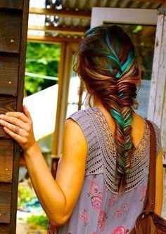 colorful boho hair