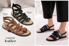 If your feet need to be comfy at any time, it's definitely around festival season! Three styles of sandals in tan and black that you should definitely be rocking to ensure your super trendy.