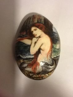 My  painted stone (acrylic and varnished) copy from John William Waterhouse 'A Mermaid' 25/1/2013