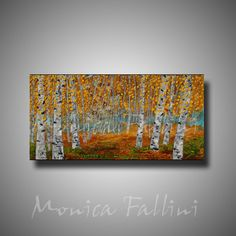 """Birch Aspen trees original oil painting on canvas 15"""" x 30"""" by Monica Fallini #Expressionism"""
