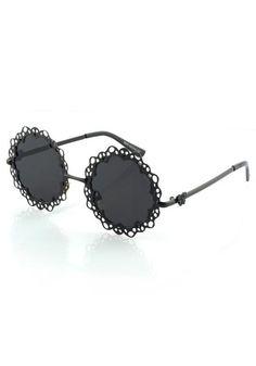 Cutout Metal Frame Sunnies - Black