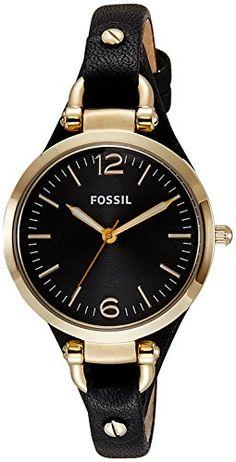 Fossil-Damen-Armbanduhr-XS-Georgia-Analog-Quarz-Edelstahl-beschichtet-ES3148