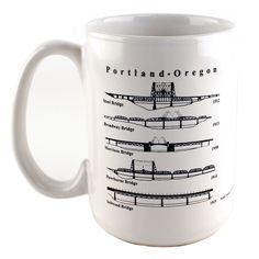 Portland Bridges Coffee Mug   Made In Oregon