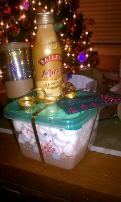 Adult Hot Cocoa Gift  http://www.melskitchencafe.com/2011/12/homemade-hot-chocolate-mix-another-simple-gift-idea.html