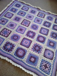 Lavender Crochet Baby Blanket 35 90cm Sunburst by BezCreations