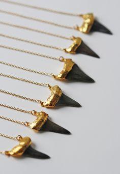 16'' black SHARK tooth necklace - duo, kei jewelry