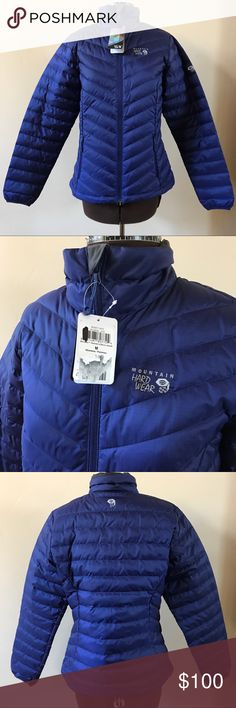 NWT MOUNTAIN HARD WEAR DUCK DOWN JACKET NEW duck down jacket from Mountain Hard Wear. Beautiful deep purplish blue. Front zipper and 2 side zipper pockets. Black interior lining. 75% duck down and 25% duck feathers. Will keep you super warm and stylish all Winter. Size Medium. Mountain Hard Wear Jackets & Coats