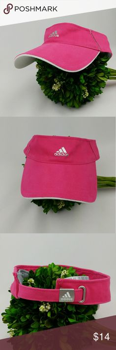 Adidas Visor hat one size hot pink and white .Adidas Visor Hat  .one size fits all .hot pink and white .silver logo .In good clean condition adidas Accessories Hats