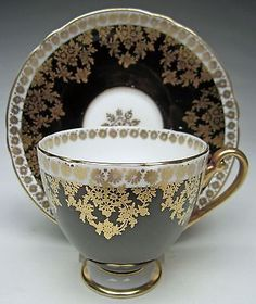 Vintage China Shelley Oleander Ripon Shape Cup and Saucer Black with Gold Flowers and Leaves