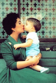 Elizabeth Taylor and her son, Michael Wilding Jr. 1954