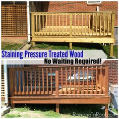 Staining Pressure Treated Wood - No Waiting Required