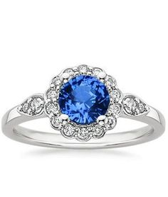 Sapphire Camillia Diamond Ring (1/4 ct. tw.) in 18K White Gold, 6mm Round Blue Sapphire