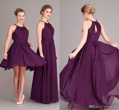 Purple Chiffon Bridesmaids Dreses 2015 A Line Jewel Open Back Short Bridesmaid Dresses Plus Size Modest Pleat Sash Formal Party Gowns Online with $87.45/Piece on Butterfly001's Store | DHgate.com