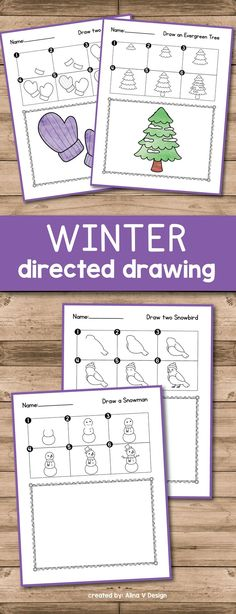 Winter Directed Drawing for preschool, kindergarten and first grade is fun with these  easy step by step printable activities. Each student will learn following directions and draw a polar bear,  a snowman, an evergreen tree, mittens, hats, and more. This simple lessons are the perfect activity for January and December.