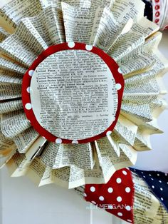 4th of July Book Page Wreath - What Meegan Makes