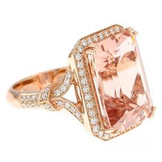 10.29 Carat Morganite and Diamond Gold Ring | From a unique collection of vintage cocktail rings at https://www.1stdibs.com/jewelry/rings/cocktail-rings/