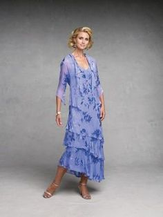 Capri By Mon Cheri 11132 Tea Length Mother Of The Bride Dresses In A Print
