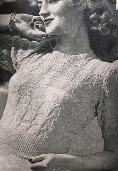 """1940-е годы фешенебельным """"Бриджит"""" Вязаный свитер кружева -Australian вязания epattern b32 b34 или b36- СКАЧАТЬ INSTANT"""