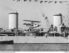 RAAF Seagull V aircraft, serial A2-18, on HMAS Sydney (II). This aircraft was used by the ship at various times from 29 Sseptember 1938 through 1940. As the aircraft is not camouflaged, the photograph was taken prior to Sydney's return to Australia in 1941