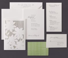 Our Grass Garden Lace folder invitation suite is shown here thermography printed.