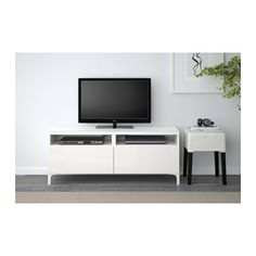 BESTÅ TV bench with drawers, white, Selsviken high-gloss/white white/Selsviken high-gloss/white 120x40x48 cm drawer runner, push-open