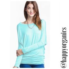 Comfortable Jersey Dolman Top The most comfortable top you will own. This is a Mint green dolman style jersey top with long sleeves. Perfect with jeans or leggings or even a pair of pj pants to snuggle up in.made of 95% rayon 5% spandex Made in the USA Love In Tops Tees - Long Sleeve