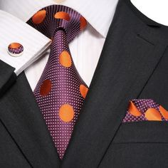 """3PC Silk Necktie Set Color: Purple and Orange 59"""" Length, 3.25"""" Width Matching Cufflinks and Pocket Square"""
