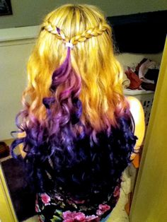 My purple and blue dip dyed curled hair