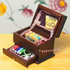 Dollhouse Miniature 1:12 Toy Knitting Wooden Box Set L3.2cm F4724