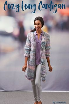 Cozy Long Cardigan knit in Collage. Make a statement with this fashionable-yet-comfy cardigan. It will work up quicker than most sweaters with our colorful Collage yarn. Where ever you wear it you'll be sure to be warm and look stylish!