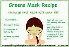 It Works Defining Gel and It Works Greens for a facial mask. weluvitworks.com   wrapswithkaylab.myitworks.com Call or Text us @801-319-6169