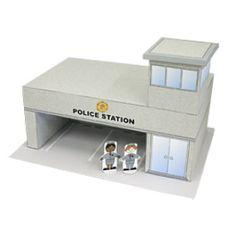 Papercraft de la Comisaria de Policía de la mini-ciudad / craftown. Manualidades a Raudales.