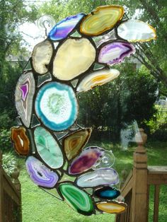 Agate Stained Glass. Square stained glass. Agate, Geode & Rocking Home Decor Ideas We Love at Design Connection, Inc. | Kansas City Interior Design http://www.DesignConnectionInc.com/Blog