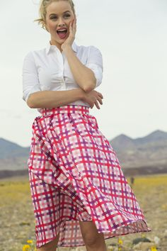 Lucy Taffeta Plaid Midi Skirt Pink, definitely retro