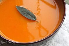 Butternut Squash Soup with Sage - the color is so amazing in this soup, that I am going to paint my kitchen this color!