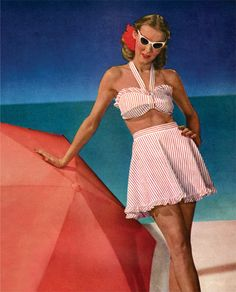 vintage everyday: Vintage Swimwear Fashion from to Moda Retro, Moda Vintage, Vintage Mode, Vintage Pink, Vintage Bathing Suits, Vintage Swimsuits, 1950s Style, Aqua Sport, 1940s Fashion