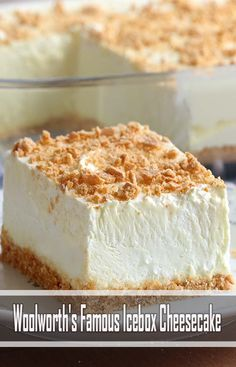This Coconut Cream Lush recipe is light, creamy and filled with coconut pudding deliciousness. It's a cream cheese layered one-pan dessert that's perfect for your next potluck! Fluff Desserts, No Bake Desserts, Dessert Recipes, Quick Dessert, Pie Dessert, Breakfast Recipes, The Cheesecake Factory, Woolworth Cheesecake Recipe, Cheesecake Recipes