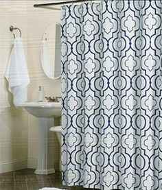 100 Percent Cotton Shower Curtain Moroccan Tile Quatrefoil Lattice 72 Inch By