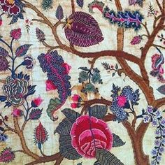 Mid 18th century palampore from the Coromendal Coast of India...embroidered