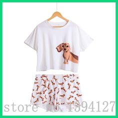 Best Seller Cute Women's Pajama Sets Dachshund Print 2 Pieces Set Suit Crop Top + Shorts Elastic Waist Loose Plus Size S6706