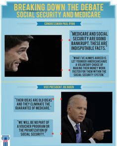 Vice President Biden and Congressman Paul Ryan mentioned very different plans for #SocialSecurity and #Medicare in yesterday's debate. Here are some quotes from last night that help clarify their plans. #vpdebate