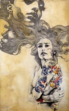 Portrait Painting Artist Study with Gabriel Moreno mixed media Amazing Drawings, Amazing Art, Art Drawings, Awesome, Gabriel, Street Art, Graffiti, Art Japonais, Pen And Watercolor